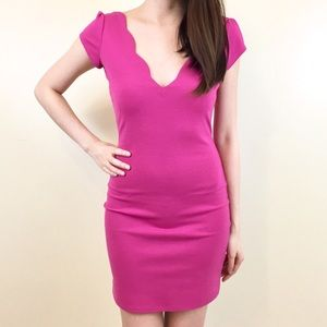 UO Cooperative Pink Scallop V-Neck Dress